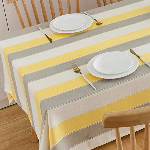 Plenmor - Mantel de Lino y algodon Resistente para mesas rectangulares con Bordado solido para decoracion de Mesa de Cocina o Comedor, Amarillo, 135x180 cm