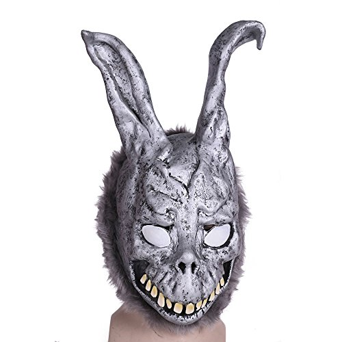 BFJ Donnie Darko Bunny Latex Mask Adult Overhead Rabbit Scary Mask with Fur (Latex Rabbit Mask)