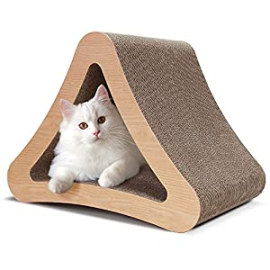 ScratchMe 3-Sided Triangle Cat Scratching Post Scratcher Cardboard with Catnip, Recycle Corrugated Vertical Cat Board Pads Prevents Furniture Damage