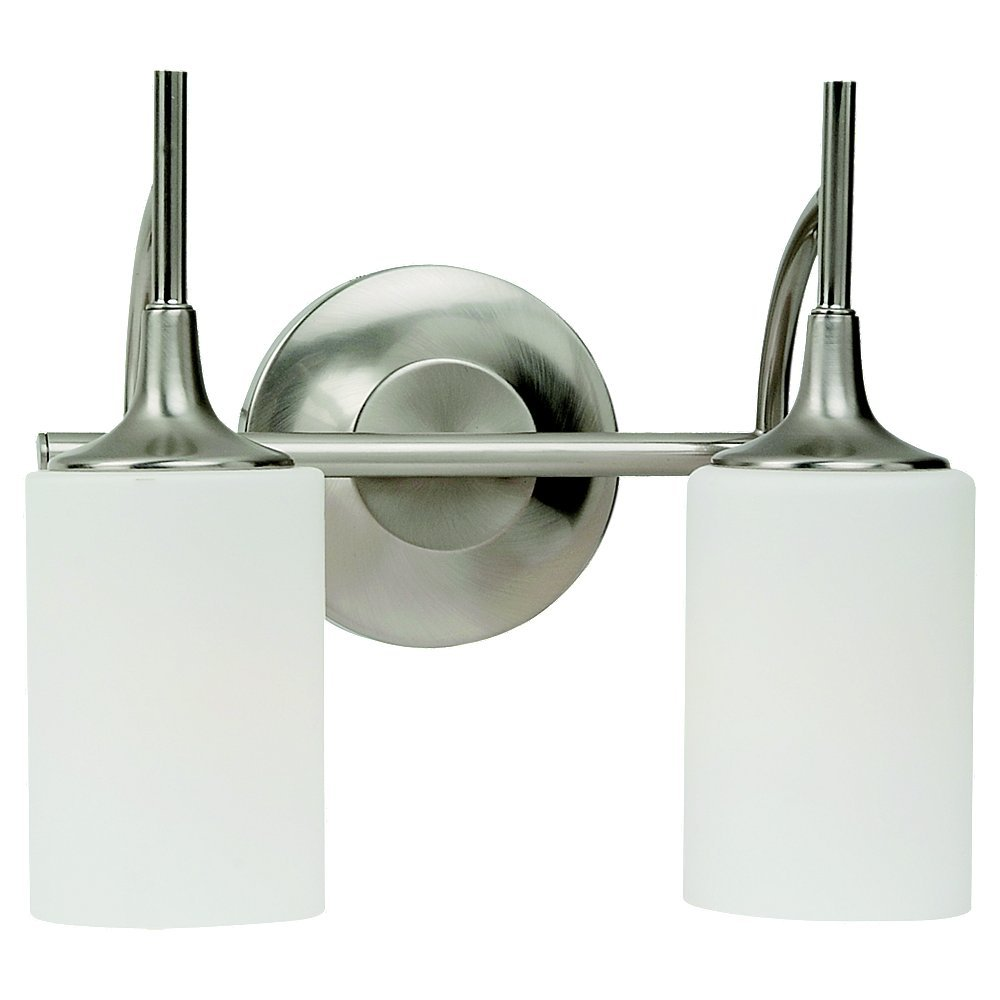 Sea Gull Lighting 44953-962 Stirling Two-Light Wall Bath Vanity Style Lights, Brushed Nickel