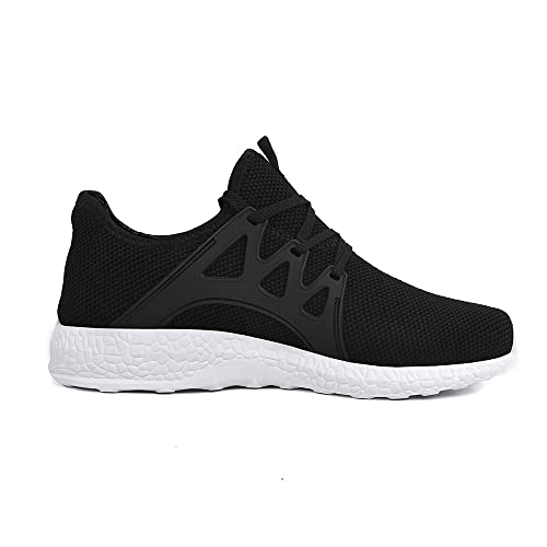 Feetmat Womens Sneakers Ultra Lightweight Breathable Mesh Walking Gym Tennis Athletic Running Shoes (9.5, Black/White)