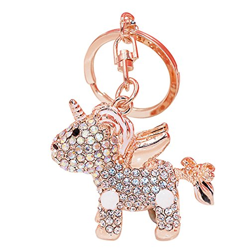 Bling Bling Crystal Rhinestone Small Keyring 3D Metal Keychain Car Phone Purse Bag Accessories Holiday Christmas Birthday Gift (White)