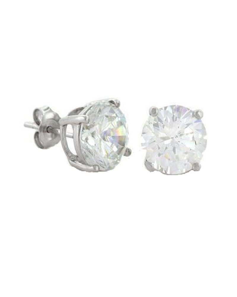 Round Cut Clear CZ Basket Set Sterling Silver Stud Earrings 6mm