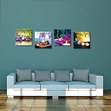 Hello Artwork Canvas Prints Zen Art Wall Decor Spa Massage Treatment Painting Picture Orchid Flower Frangipani Bamboo Flaming Candle Print On Canvas 4 Panel Ready to Hang 12 x12 x4pcs