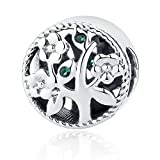 Sterling Silver Tree of Life Charm Beads with Emerald Gemstones, Fit Major Brand Bracelet BISAER