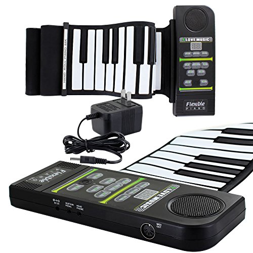 Skque 88 Keys USB Roll Up Silicone Digital Electronic Piano Keyboard w/ Loud Speaker by Skque