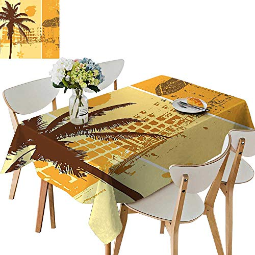 UHOO2018 Square/Rectangle Indoor and Outdoor Tablecloth Holiday Theme Illustration of a Resort Flowers and Palm Trees Pattern Brown Marigold Restaurant Party,50x 50inch (Palm Pattern Tree)