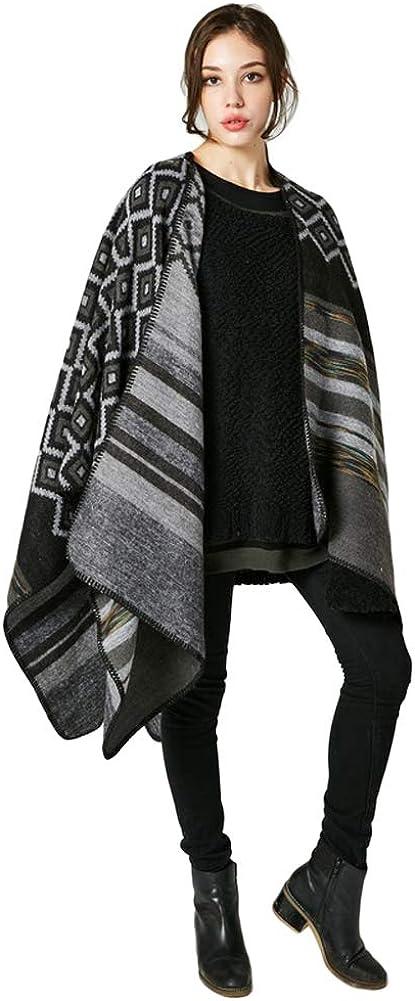 Anself Femmes Bohême Long Cape Motif Géométrique Surdimensionné Poncho Châle Tricoté Noir