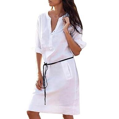 03cb962aaf ADESHOP Élégant Robe Femmes Coton Et Lin Casual Demi Manche Col en V Robe  Slim Pocket Chemise Robes Femmes Couleur ...
