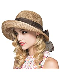 Krastal Womens Summer Hats Straw Beach Sunbonnet Wide Brim Floppy Cloche Sun Hat