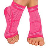 TechWare Pro Ankle Brace Compression Sleeve - Relieves Achilles Tendonitis, Joint Pain. Plantar Fasciitis Foot Sock with Arch Support Reduces Swelling & Heel Spur Pain. (Pink, L / XL)