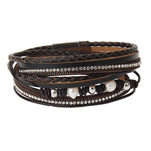 AZORA Brown Women Leather Wrap Bracelet with Magnetic Clasp Pearl Crystal Charm Rope Braided Cuff Bracelets Handmade Jewelry Gift for Teens Girls
