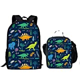 Children Backpack Set Boys Girls with Lunchbox Cartoon Dinosaur Printing