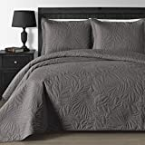 King Size Bedspreads and Comforters Comfy Bedding Extra Lightweight and Oversized Thermal Pressing Leafage 3-Piece Coverlet Set (King/Cal King, Gray)