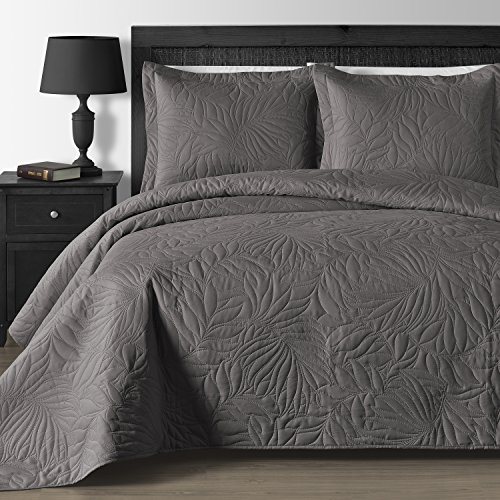 Comfy Bedding Extra Lightweight And Oversized Thermal Pressing Leafage  3 Piece Coverlet Set (King/Cal King, Grey)