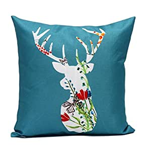 GBSELL Pillow Cover Pretty Christmas Elk Deer Pillow Case Sofa Throw Cushion Cover Party Home Decor (A)