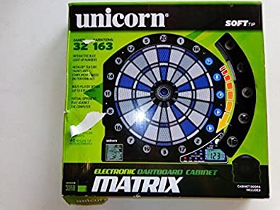 Used Unicorn Electronic Dartboard Cabinet Red/Blue/White Darts By Unicorn