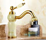 AWXJX Sink Taps European style copper Hot and cold Basin Seated Single cold Golden jade ceramics