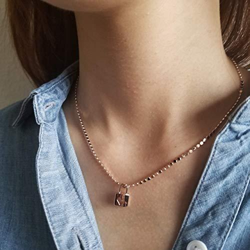 (Mini Pendant Necklace, Rose Gold Pendant Necklace, Rose Gold Lock Pendant Necklace, Rose Gold Bead Chain Necklace, Dainty pendants, Mini Lock Pendant, Valentine Day Gift, WHITNEY NECKLACE (ROSE GOLD))