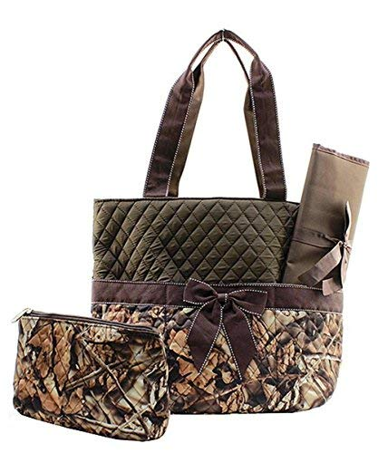 Quilted BNB Natural Camo 3pc Diaper Bag Set ()