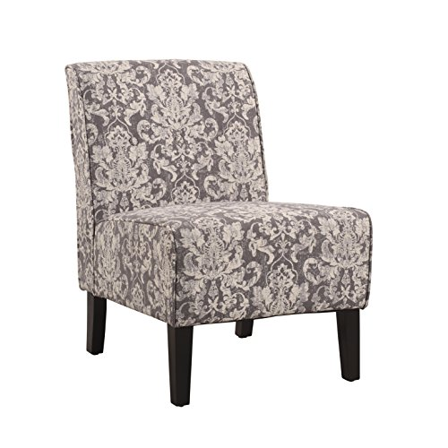Linon Coco Accent Chair, Gray Damask - Upholstered Accent Chair