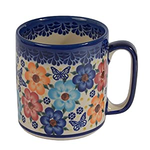 Traditional Polish Pottery, Handcrafted Ceramic Roller Mug (400 ml), Boleslawiec Style Pattern, Q.201.MEADOW