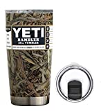 YETI Coolers 20 Ounce (20oz) (20 oz) Custom Powder Coated or Hydro Dipped Rambler Tumbler Travel Cup Mug Bundle with New Magslider Spill Proof Lid (Dipped Camouflage)