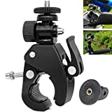 VVHOOY Motorcycle Bicycle Bike Camera Handlebar Clamp Mount with Tripod Adapter for Sports Action Camera