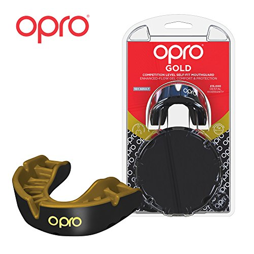 OPRO Mouthguard Custom-Fit Gold Level Gum Shield for Ball, Combat and Stick Sports - 18 Month Dental Warranty (Adult and Kids Sizes) | Black/Gold, Kids