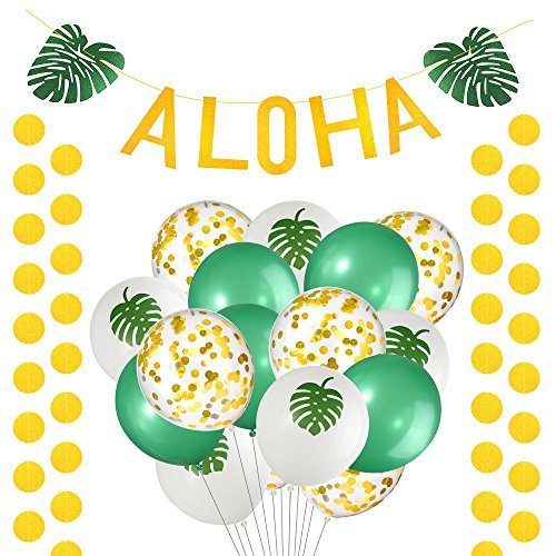 FEPITO 20 Pcs Aloha Hawaiian Tropical Luau Party Decoration Includes Gold Glittery ALOHA Green Leaves Banner Garland With Gold Circle Dots Garland and Tropical -