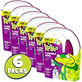 Flushable Wet Wipes and Container Tub for Kids, Magic Melon Scent by Kandoo, Potty Training Cleansing Cloths, 1 tub and 50 ct Wipes per Package, Pack of 6