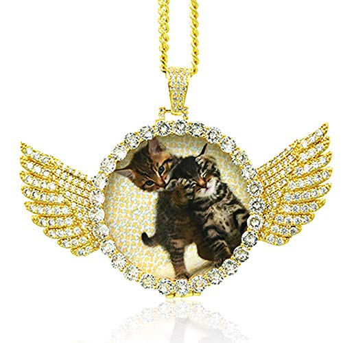 Dream Fly Personalized Photo Necklace Custom Photo Pendant Personalized Locket Necklace Gold Silver Hip Hop Jewelry with Cubic Zirconia for Men and Women, 18in, 20in, 24in and 30in Chain Length Custom Hip Hop Pendants