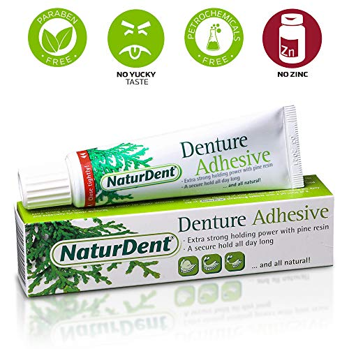 Natural Strong Denture Adhesive NaturDent holds Dentures Longer and Stronger No Zinc No Petrochemical  No Additives