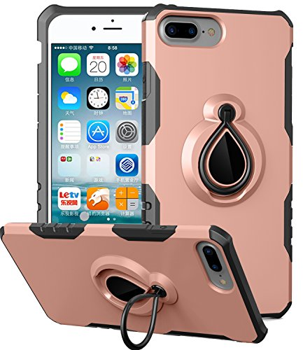 XRPow iPhone 7 Plus Case, Dual Layer Defender Armor Cover Ring Holder ShockProof PC and Soft TPU with Kickstand Stand Protective Case for iPhone 7 Plus 5.5inch (Rose Gold) - Embossed Gold Inner Lip