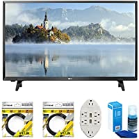 LG LJ500B Series 32 Class LED HDTV 2017 Model (32LJ500B) with 2x 6ft High Speed HDMI Cable, Screen Cleaner for LED TVs & Transformer Tap USB w/ 6-Outlet Wall Adapter and 2 Ports