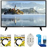 LG LJ500B Series 32' Class LED HDTV 2017 Model (32LJ500B) with 2 x 6ft High Speed HDMI Cable, Screen Cleaner for LED TVs & Transformer Tap USB w/6-Outlet Wall Adapter and 2 Ports