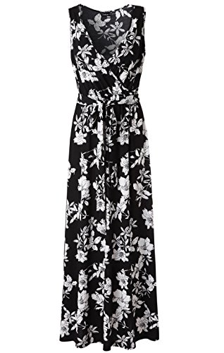 Zattcas Womens V Neck Sleeveless Empire Waist Floral Maxi Dress … (X-Large, Black White)