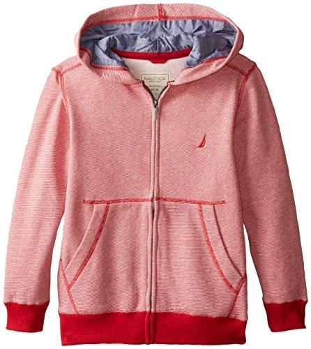 Rouge Yarn - Nautica Big Boys' Yarn Dye Mini Stripe Fleece Jacket Chambray Lining, Red Rouge, X-Large