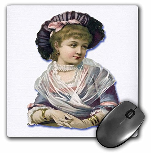 3dRose Vintage Victorian Images of Men and Women - Pretty Young Victorian Woman in Lavender and Pink - MousePad (mp_175398_1)