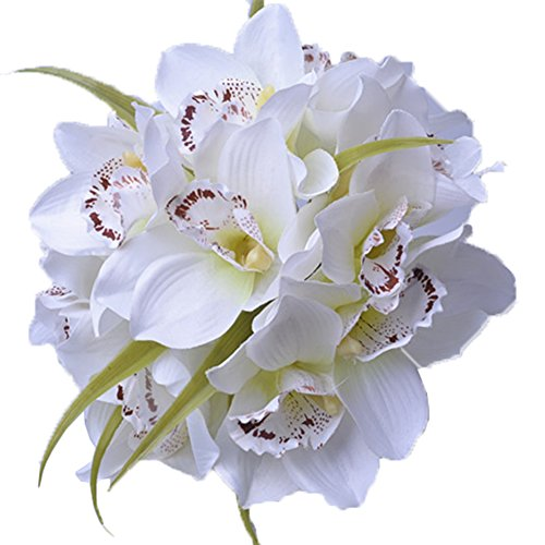 Cymbidium Orchid White Bouquet (Htmeing 12 Heads Artificial Cymbidium Orchid Silk Flower Fake Bouquet for Wedding Holiday Bridal Bouquet Home Party Decor (white))