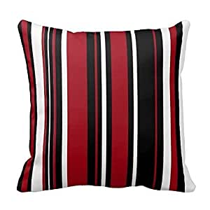 Generic Custom Stripes in Red Black and White Pillow Covers