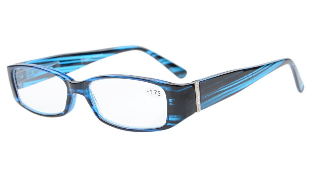 d3f8308fcef Eyekepper Spring Hinges Reading Glasses Readers with Genuine Austrian  Crystals Women Blue +3.5  Amazon.co.uk  Health   Personal Care