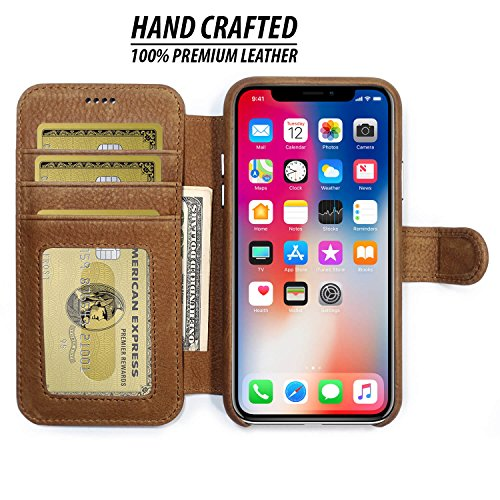 Burkley Leather Wallet Folio Case for Apple iPhone X with Magnetic Closure| Book Style Cover with Card Holders and Kickstand in a Gift Box | TAN