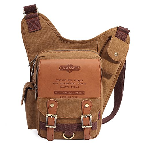 Mens Boys Vintage Canvas Shoulder Military Messenger Bag Sling School Bags Chest Military Leather Patchwork Messenger Bag- Great Christmas Birthday Gift for Families and Friends (Khaki)