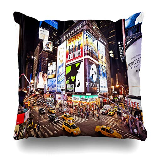 Ahawoso Throw Pillow Covers Real Yellow Broadway New York City July Theater Times NYC Taxi Angle Design Expensive Home Decor Zippered Pillowcase Square Size 16 x 16 Inches Cushion Case ()