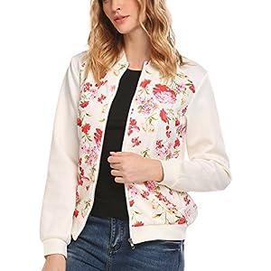 Zeagoo Women's Pockets Zip Fastening Front Lightweight Bomber Jacket White XL