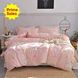 ORoa Girls Bedding Sets Twin 3 Piece Cartoon Cloud Animal Twin Duvet Cover Set with Pillowcases for Kids Toddler Adult 100% Cotton Reversible Lightweight Child Striped Teen Bedding Duvet Cover Pink