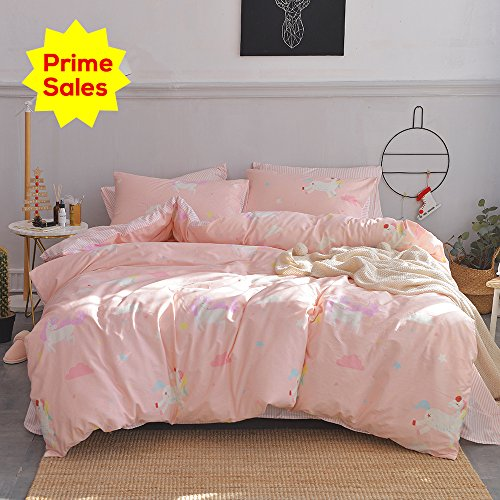 ORoa Girls Bedding Sets Twin 3 Piece Cartoon Cloud Animal Twin Duvet Cover Set with the help of Pillowcases for Kids Toddler Adult 100% Cotton undoable light-weight kid Striped Teen Bedding Duvet Cover Pink