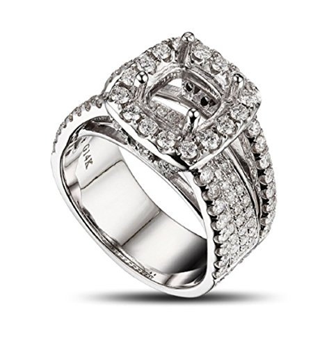 GOWE 7.5x7mm 14k WHITE GOLD 2.65ct DIAMOND ENGAGEMENT SEMI MOUNT SETTING RING by GOWE