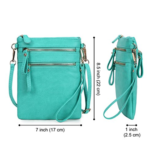 Organizer Pockets Faux Women's Solene Wristlet Multi Zipper Leather Crossbody Bag Handbag Detachable Turquoise With YqRYwU
